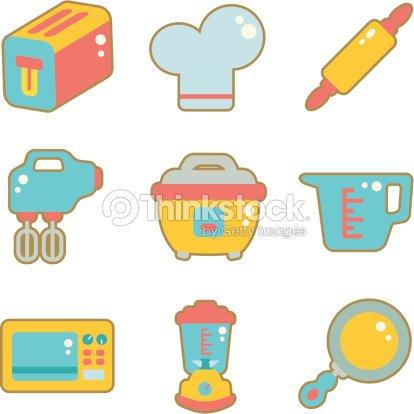 Cute Icon Set Kitchen Appliances Vector Art