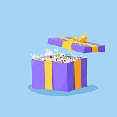 Cute illustration of gift box present, greeting, surprise, Opened gift box, surprise concept