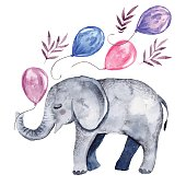 Cute illustration with baby elephant and balloons. Watercolor hand drawn clip art, perfect for baby shower invitations, greeting cards and postcards.