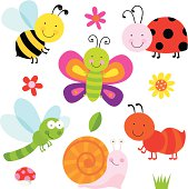 An assortment of cute bugs, grass and flowers, mushroom & grass
