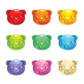 Cute jelly bears faces. Vector colorful candy icons.
