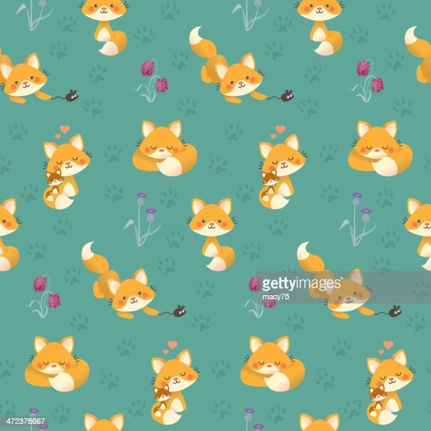 Cute kawaii fox pattern teal