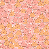 Cute kawaii rabbits seamless pattern. Vector background. It can be used as wallpaper, desktop, card, apparel design, printing, wrapping, fabric or background for your blog, covers and your design.