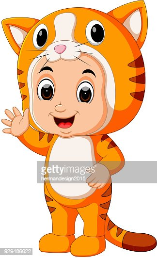 Cute kids cartoon wearing cat costume : Vector Art