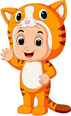 illustration of Cute kids cartoon wearing cat costume