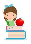 cute kids reading books,cute children reading books, Happy Children while Reading Books, kids while Reading Books, Vector Illustration on white background.