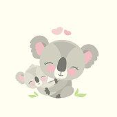 Cute koala bear with child,wild animal isolated,flat vector illustration