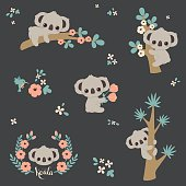 Cute koala in different poses: climbing on a tree, laying on a branch, holding flowers, etc. Vector cartoon illustration