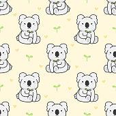 Cute koala seamless background repeating pattern, wallpaper background, cute seamless pattern background