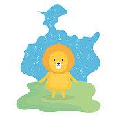 cute lion adorable character vector illustration design