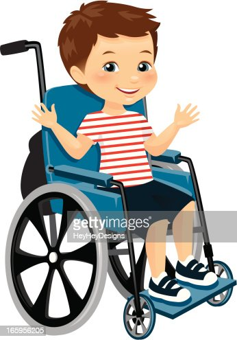 Cute little boy in wheelchair vector art getty images for Sedia a rotelle cartoon