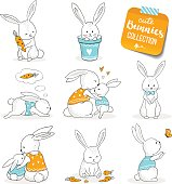 Cute little bunnies set. Hand drawn cartoon style, hand drawn illustration