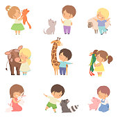 Cute Little Children Playing with Playing and Hugging Animals, Kid Interacting with Animal in Contact Zoo Cartoon Vector Illustration on White Background.