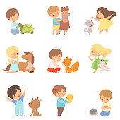 Cute Little Children Playing with Playing, Hugging and Feeding Animals, Kid Interacting with Animal in Contact Zoo Cartoon Vector Illustration on White Background.