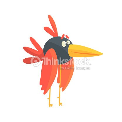 Cute little funny long legged bird colorful character vector Illustration
