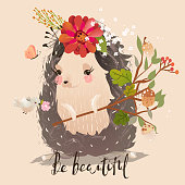 Cute little hedgehog baby animal with flowers, branch, butterflies and bird