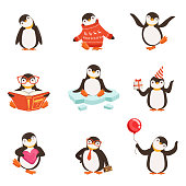 Cute little penguin cartoon characters set for label design. Penguin activities with different emotions and poses. Colorful detailed vector Illustrations isolated on white background