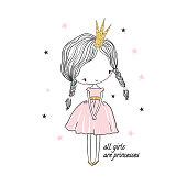 Cute little princess girl. Fashion illustration for kids clothing. Use for print design, surface design, fashion kids wear