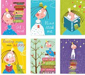 Colorful a4 cute girl cards big bundle with a sign for a little child about reading literature. Vector illustration.