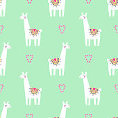 Cute llama with candy cane heart seamless pattern on mint green background. Vector baby animal illustration for xmas. Child drawing style lama. Christmas design for fabric, wallpaper, textile, decor.