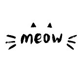 Cute meow cat quotes illustartion vector. Perfect for logo, logotype, invitation, greeting card, poster, etc