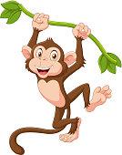 Illustration of Cute monkey animal hanging on a vine
