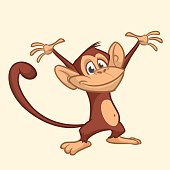 Cute monkey cartoon icon. Vector illustration of drawing monkey. Outlined