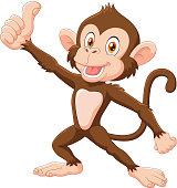 Illustration of Cute monkey giving thumb up isolated on white background