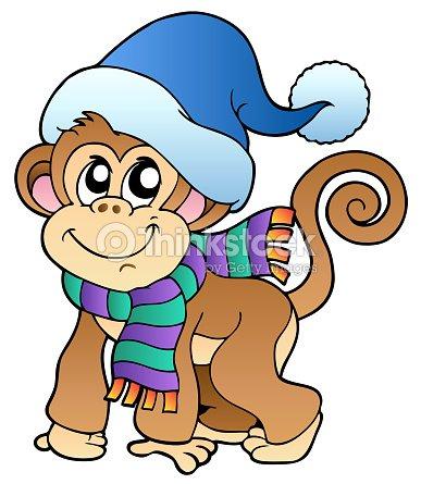 5a6313937b10a Macaco engraçado em Roupas de Inverno   Arte vetorial