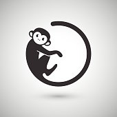 Cute monkey in a shape of a circle, New Year 2016, vector illustration