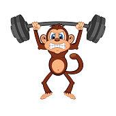 Cute Monkey weightlifting Cartoon - full color