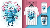 Cute monster - idea for print t-shirt. Vector eps 10
