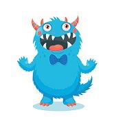 Cute Monster Vector. Cartoon Monster Mascot. Vector Illustration Funny Fantastic Animals. Cartoon Monster Face. Sticker Cartoon Monster.