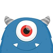 Cute furry blue monster vector isolated