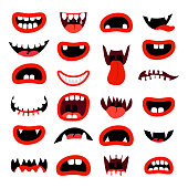 Cute monsters mouth set. Red cartoon mouths with teeth, on white background. Vector illustration