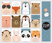 Cute monthly calendar 2019 with fox,bear,penguin,rabbit,tiger,panda,monkey,squirrel and glasses.Can be used for web,banner,poster,label and printable
