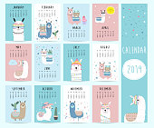Cute monthly calendar 2019 with llama,luggage,cactus,geometrical,glasses,heart for children.Can be used for web,banner,poster,label and printable