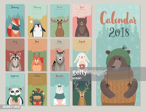 Cute monthly calendar with forest animals. : Vector Art