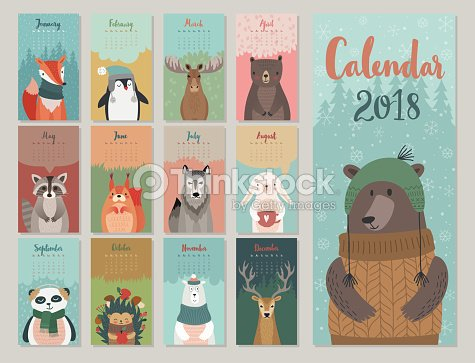 Cute monthly calendar with forest animals. : arte vettoriale