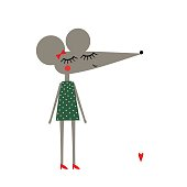 Cute mouse girl in polka dots dress on white background. Child drawing style baby animal illustration. Fashion design card.