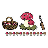 Cute mushroom foraging with basket cartoon vector illustration motif set. Hand drawn edible fungi hunting elements clipart for wild food blog, toadstool graphic, woodland web buttons.