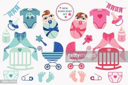 Linda recién nacido bebé clipart.Twins de : Arte vectorial