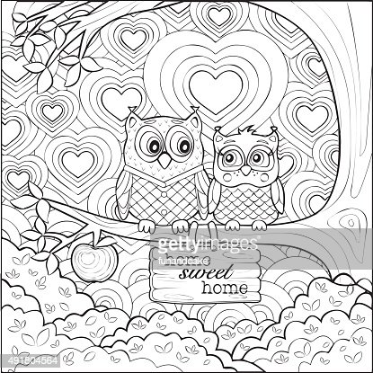 Cute Owls Art Therapy Coloring Page Vector Art Thinkstock