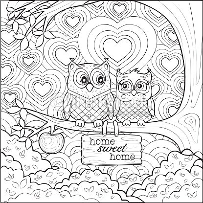 Cute owls art therapy coloring page vector art