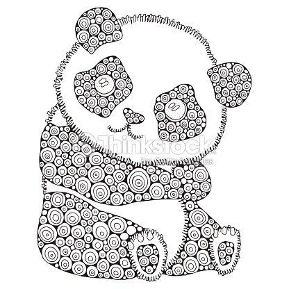Lindo Panda Adultos Antiestrés Para Colorear Página Del Libro Blanco ...