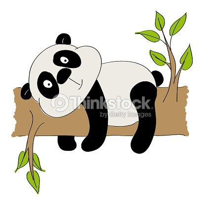 4bb42c67d5921a Niedlicher Panda-Bär liegend auf einem Ast - original hand gezeichnete  illustration   Vektorgrafik