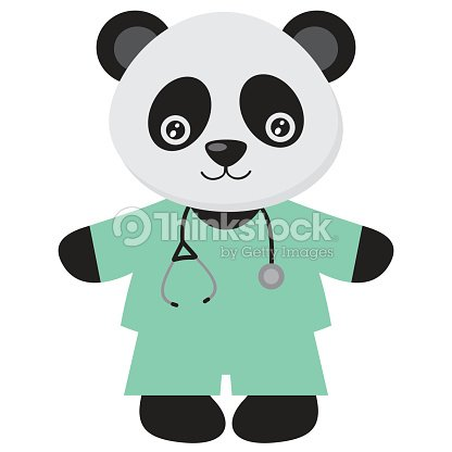Cute Panda Doctor Vector Illustration Art