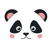 Cute panda face isolated on white background. Flat style