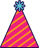cute party hat cartoon vector graphic design