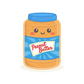 Cute Peanut Butter Bottle Jar Food Vector Illustration Cartoon Character Smile